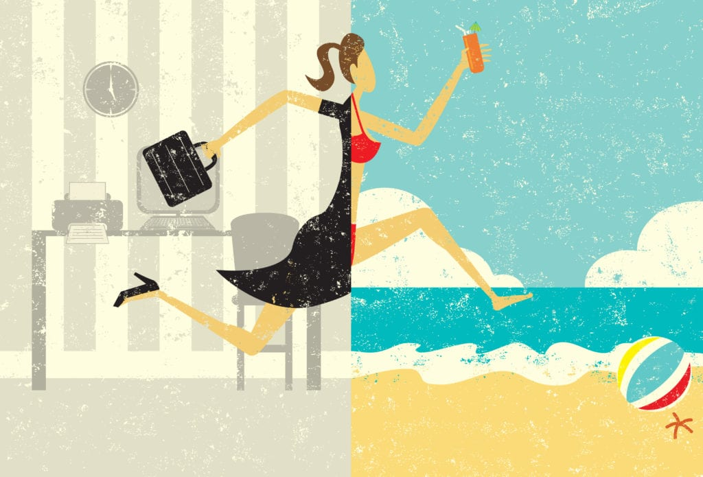 work and vacation illustration concept