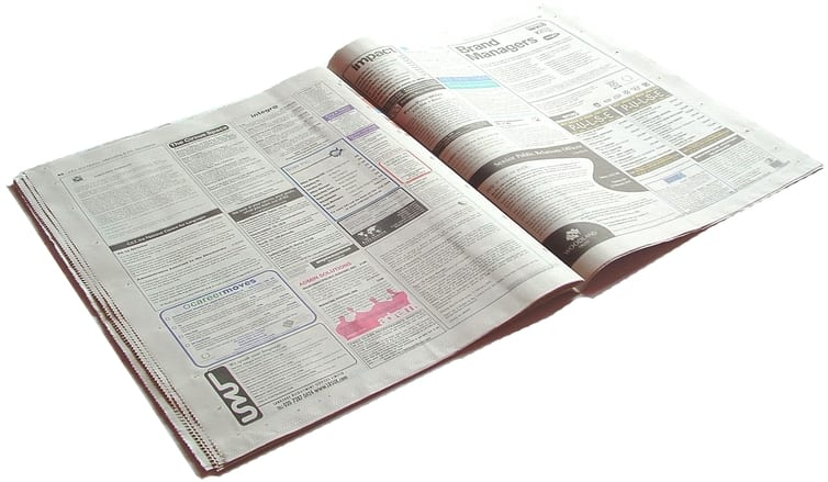 wanted ads section in newspaper