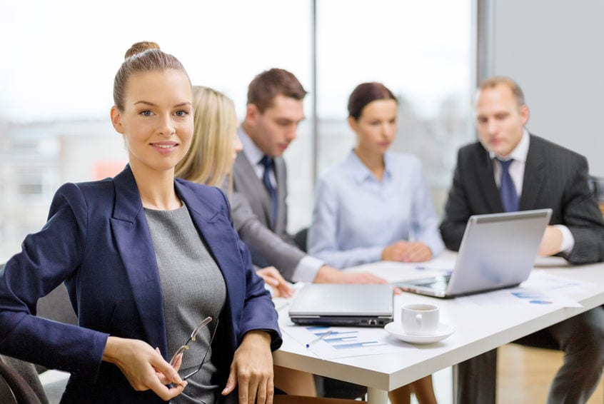 profassional woman sitting in office meeting